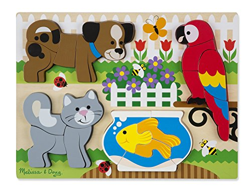 Melissa & Doug Pets Wooden Chunky Jigsaw Puzzle - Dog, Cat, Bird, and Fish (20 pcs)