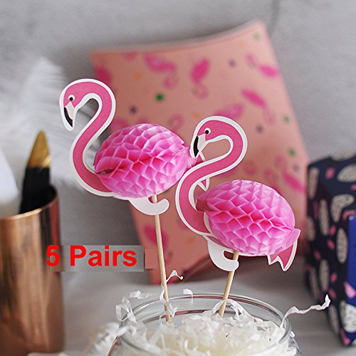 Pink-Flamingo-Party-Cupcake-Toppers-Luau-Decorations-Set-of-10