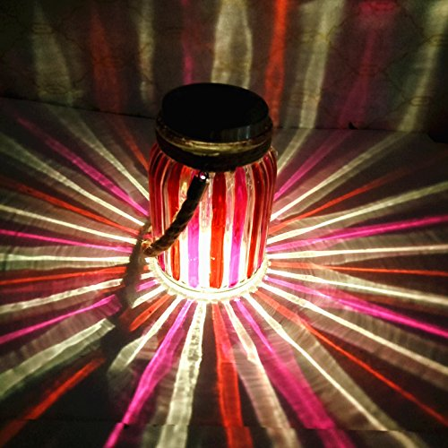Sogrand Solar Jar Lights Outdoor Lids for Mason Jars Hanging Red Lantern Home Decor Deal of The Day Prime Today Warm White LED Rope Hanger Copper Light Lid Decorative Lamp for Patio Garden Bar Party
