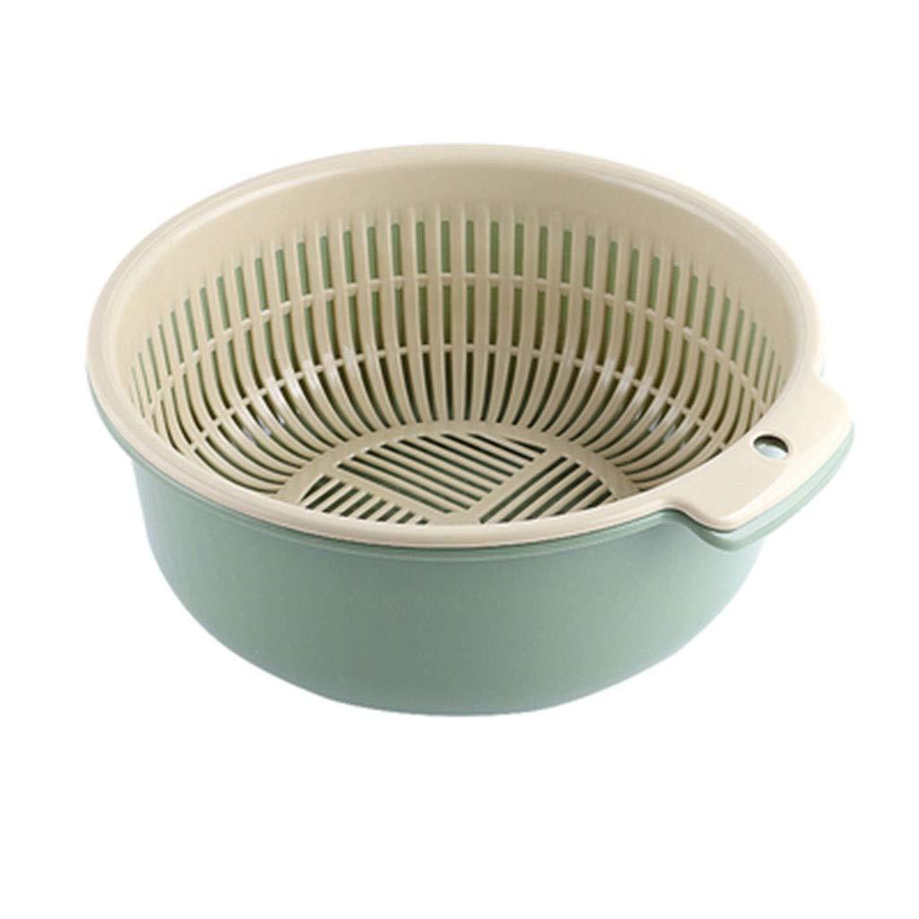 Kitchen Washing Basket, Household Washing Basket Double Fruit and Vegetable Washing Basket (Color : Green)
