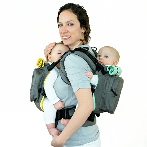 TwinGo Original Baby Carrier- Separates to 2 Single Carriers. Compact, Comfortable, 100% Cotton, and Adjustable. For Men, Women, Twins and Children Between 10-lbs and 45 lbs. (Grey, Yellow, Green)