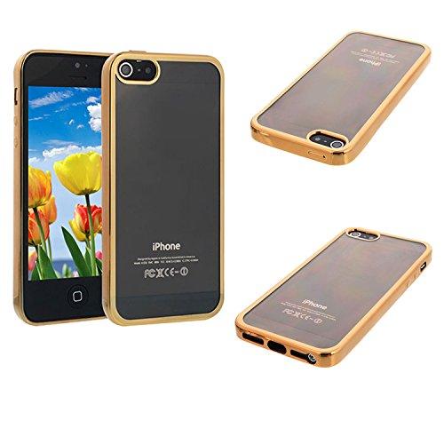 Silikon Case für iPhone 5 5S iPhone SE iPhone5 Schutz Handy Cover Hülle - Gold | Transparent Klar