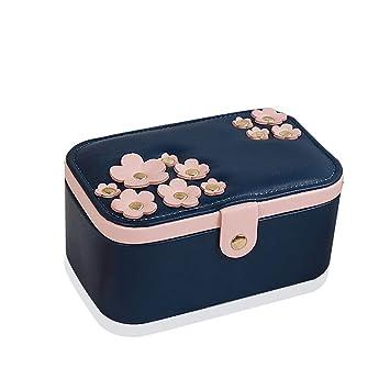 RTTssa Cajas de joyería Joyero de Viaje Grande Joyero de Doble Capa Organizador Caja de Almacenamiento con Espejo para Anillo de Oreja Collar (Color : B): ...