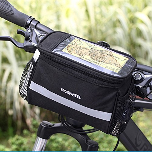 TraderPlus Bicycle Basket Handlebar Bag with Sliver Grey Reflective Stripe Outdoor Activity Cycling Pack Accessories 3.5L