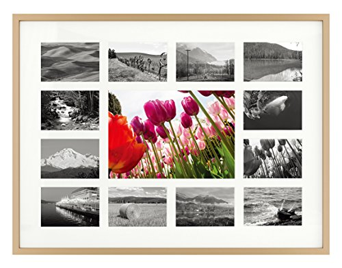 - 12x16 Gold Aluminum Metal Frame - 13 Opening Ivory Mat - Displays One 5x7 Photo and Twelve 2x3 Pictures - Collage Frame - Real Glass, Sawtooth Hangers, Swivel Tabs - Wall Mounting, Landscape, Portrait