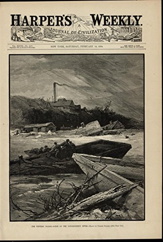 Western Floods Youghiogheny River Rescue Ruins 1884 great old print for -