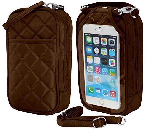 Crossbody Bag-Cell Phone Purse- Chocolate Quilt- Fits all phones-by Charm14