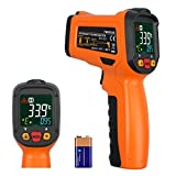 Rhinoco Digital Laser Temperature Gun Infrared Thermometer Gun Non-contact Meat BBQ Cooking Thermometer Gun -58°F~1022°F Large Color Backlit Display with 12 Point Aperture Temperature Alarm Function