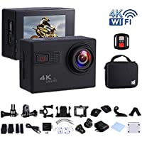 Action Camera 4K Ultra HD Wifi 20MP 2.0-inch Waterproof Sport Camera with Sony Sensor Novatek 96660 Chipset,170°Wide Angle Lens with Rechargeable Battery,Remote Control,Carrying Bag(F68-Black)