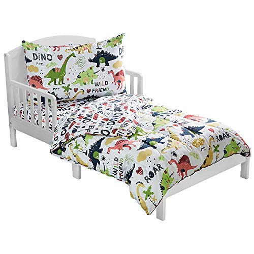 LANGRIA 4-Piece Dinosaur-Themed Toddler Bedding Set for Boys & Girls, Cartoon Print Style Kids Bed Set Includes Microfiber Comforter, Flat Sheet, Fitted Sheet and Reversible Pillowcase, Standard Size