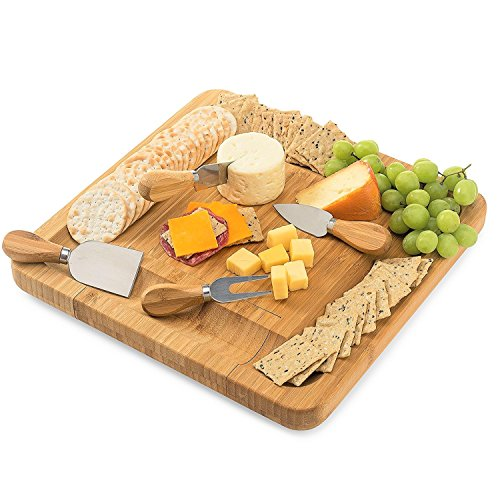 YYY Premium Bamboo Cheese Board Set with Cutlery - 4 Pieces Stainless Steel Knives in a Pull-out Design Drawer, Excellent Gift for Family, Friends