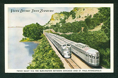 Vista Dome Twin Zephyrs Cars Luxury Passenger Railroad Train Vintage Postcard