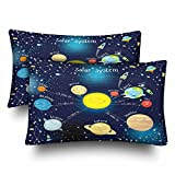 InterestPrint Solar System Educational Sun Planets Stars Playtime Pillow Cases Pillowcase Queen Size 20x30 Set of 2, Rectangle Pillow Covers Protector for Home Couch Sofa Bedroom Decoration