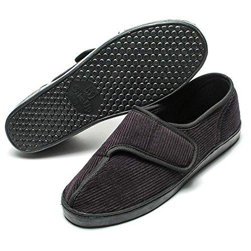 Git-up Mens Diabetic Slippers Arthritis Edema Adjustable Hook and Loop Closure W/Memory Foam Shoes,Black,7 D(M)