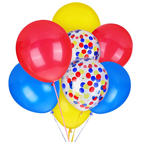 Super Mario Balloons 40 Packs, 12 inches Paw Party Balloons Red Blue Yellow Latex Balloon and Confetti Balloon for Paw Birthday Party, Baby Shower, Bridal Shower, Mario Party Supplies & Decorations ()