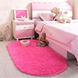 LOCHAS Ultra Soft Children Room Mat Morden Shaggy Area Rugs Home Decor, 2.62 Feet X 5.24 Feet (Rose Red)
