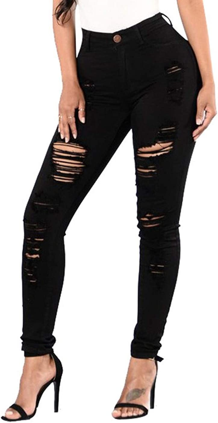 Kaitobe Womens Jeans Plus Size High Waisted Skinny Ripped Denim Pants Destroyed Slim Pants Jegging Sweatpants