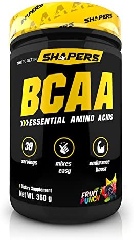 SHAPERS BCAA Essentials – Branched Chain Amino Acids, BCAAs – Building and Recovery Complex Powder – Fruit Punch, 306gm 1 Month Supply