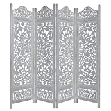 Product review for Kamal The Lotus Antique White 4 Panel Handcrafted Wood Room Divider Screen 72x80, Intricately carved on both sides making it fully reversible, highly versatile. Hides clutter, adds décor