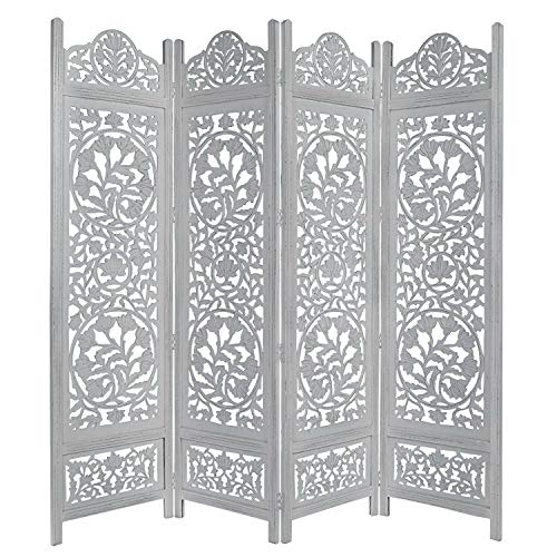 (Cotton Craft Kamal The Lotus Antique White 4 Panel Handcrafted Wood Room Divider Screen 72x80, Intricately carved on both sides making it fully reversible, highly versatile. Hides clutter, adds dÃcor )