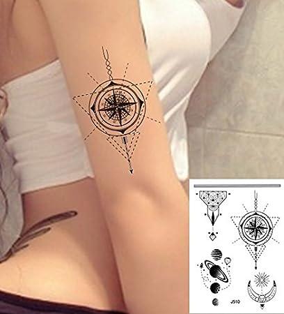 Líneas Tatuajes grafische Tatuajes Brújula Planet Fake Tatuajes J510