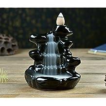 2500 Silk Art Ceramic Glaze Incense Smoke Cone Burner Backflow Censer Tower Holder Porcelain Decoration Charcoal Ash Catcher Tray Bowl for Yoga Bedroom DXL-GSLS