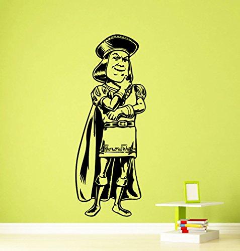 Lord Farquaad Shrek Wall Decal Kids Cartoon Vinyl Sticker Room Interior Decoration Home Kids Room Art Design Removable Waterproof Mural (390z) ()