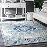 D&H 4'x6'ft Blue White Yellow Floral Multi Colored Mandala Patterned Area Rug. Indoor Flower Living Room Mat Rectangle Carpet, Large Flooring Wide, Plush Vintage Style Polypropylene Synthetic