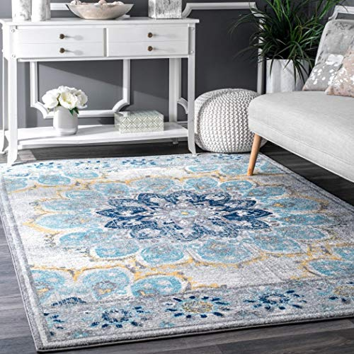 Cheap D&H 4'x6'ft Blue White Yellow Floral Multi Colored Mandala Patterned Area Rug. Indoor Flower Living Room Mat Rectangle Carpet, Large Flooring Wide, Plush Vintage Style Polypropylene Synthetic