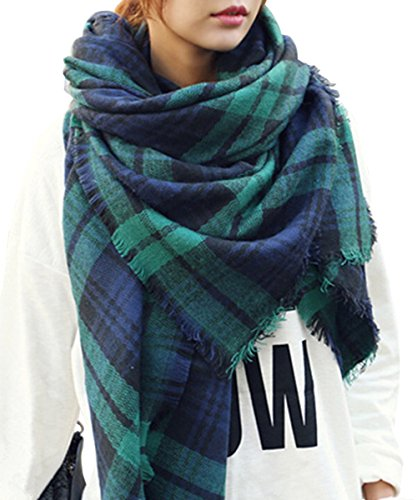 (Bess Bridal Women's Plaid Blanket Winter Scarf Warm Cozy Tartan Wrap Oversized Shawl Cape (One Size, Green))