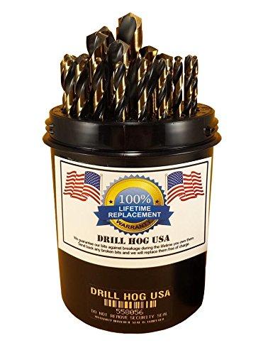 Drill Hog 29 Pc Drill Bit Set Index 1/16'-1/2' Molybdenum M7 HSS MADE IN USA Lifetime Warranty