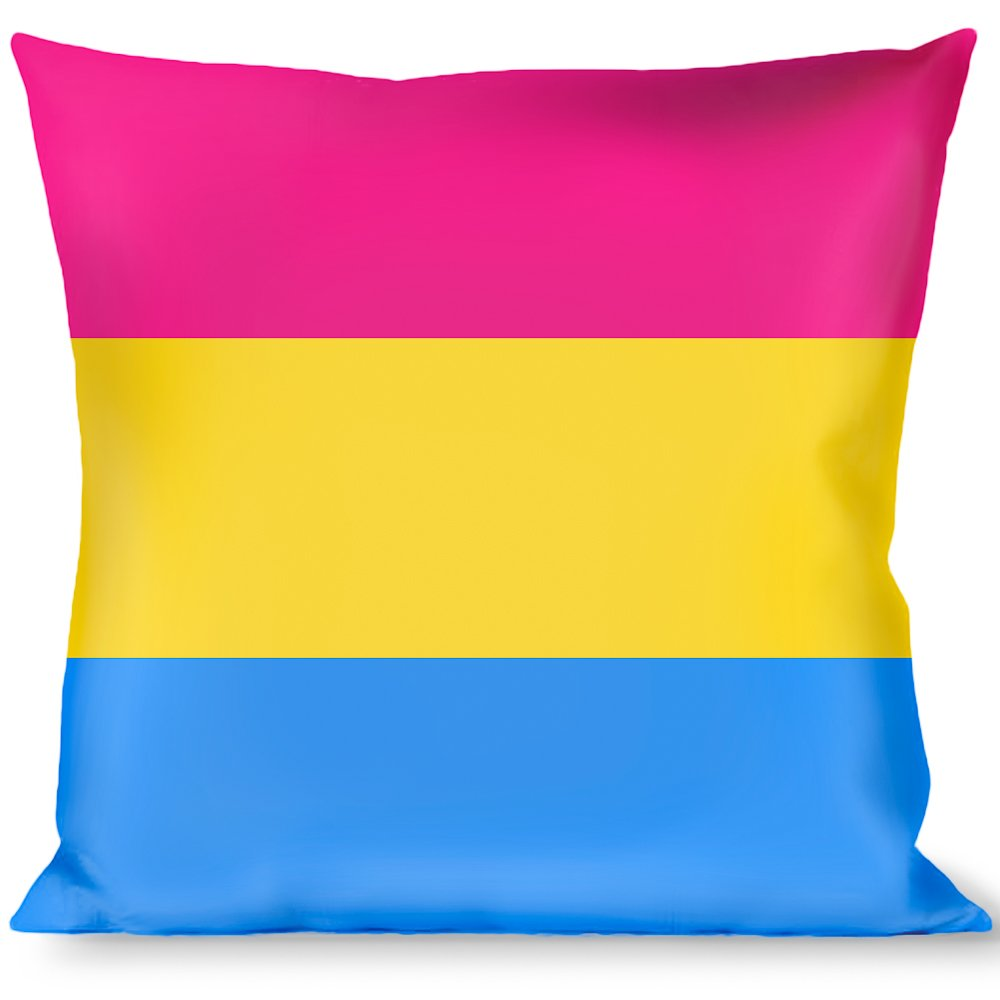 Buckle Down Flag Pansexual Pink Yellow Blue Throw Pillow Multicolor