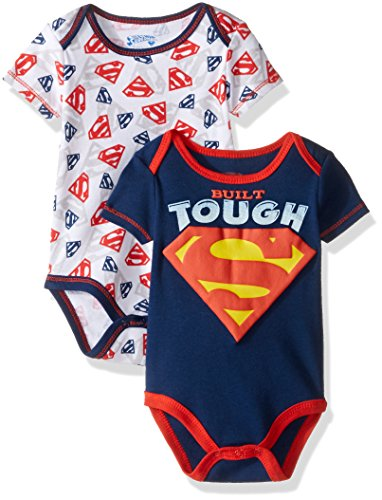 warner-brothers-baby-boys-superman-2-pack-bodysuit-layette-set-blue-3-6-months