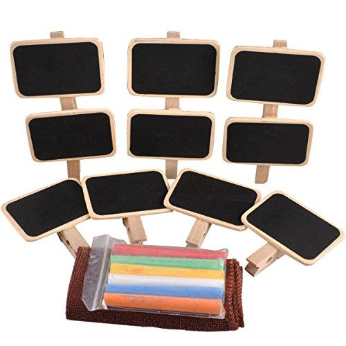 UCEC Mini Chalkboard with Wooden Blackboard Clip for Message Board Signs Pack of 10