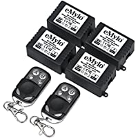 eMylo DC 6V 4x 1CH 433Mhz RF Wireless Remote Control Relay 2pcs Switch Transmitter with Receiver Learning Code