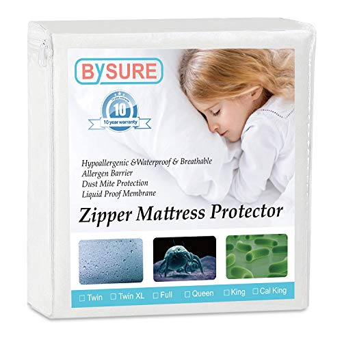 BYSURE Premium Zippered Mattress Encasement 100% Waterproof Blocks Dust, Liquid Breathable 6 Sided Mattress Protector - Twin XL Size