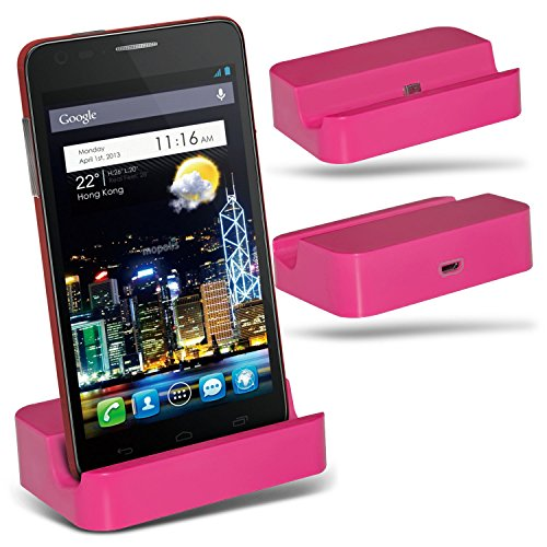 (Hot Pink)LG Optimus Vu II F200 Micro USB Desktop Dock Docking Station Charging Mount Stand By ONX3®
