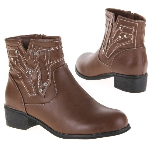 Ital-Design - Botas de caña baja para mujer Beige (Braun Camel)