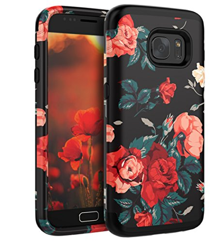 Galaxy S7 Case, S7 Case - SKYLMW [ Shock Resistant Series ] Hybrid Rubber Case Cover for Samsung Galaxy S7 3in1 Hard Plastic +Soft Silicone Flower/Black
