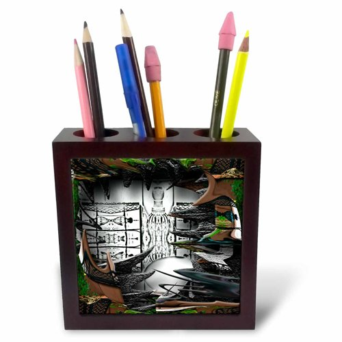 3dRose ph_47553_1 A Deep Shadow Box of Black and White Surrounded by Wispy Greens Leaves and Brown Fence-Tile Pen Holder, 5-Inch ()