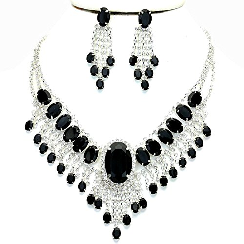 Affordable Wedding Jewelry Onyx Black Clear Rhinestone Cascade Earrings Silver Necklace ()