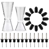 Bartender Pour Kit - Measuring Jigger Shot Cups (2) + Bottle Pourers (12) + Pourer Tip Covers (12)