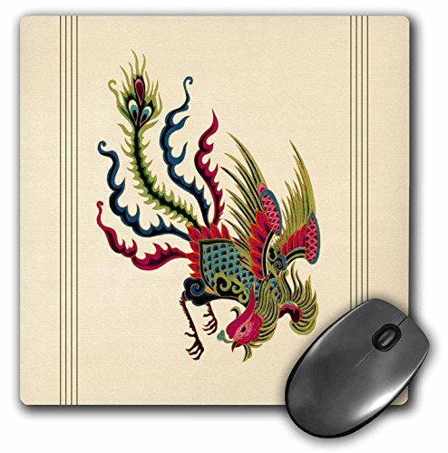 3dRose LLC 8 x 8 x 0.25 Inches Mouse Pad, Moss Green, Teal And Maroon Swooping Chinese Rooster with Cream Background And Dark Line Accents (mp_53932_1)