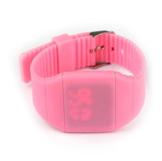 Vovotrade para niño niña selflover Marque impermeable Digital LED Touch reloj pulsera regalo (rosa)