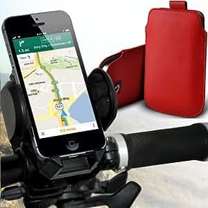 Nokia Lumia 820 premium protección PU ficha de extracción Slip In Pouch Pocket Cordón Piel Con universal de bicicletas Bike Mount Holder Soporte horquilla del soporte grados de rotación del manillar Red de Apoyo 360 por Spyrox