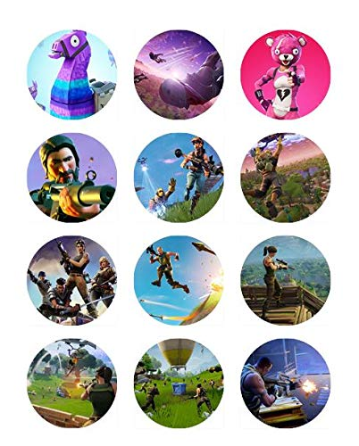Fortnite 2'' Edible Cupcake Topper Images, Set of 12 by Edible Topper Designs