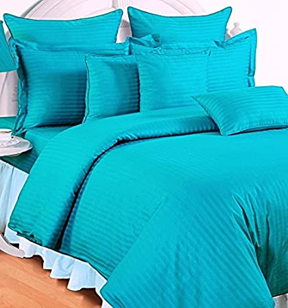 Trance Home Linen 100% Cotton 210 TC Queen Double Fitted Bedsheet 78 * 60 with 2 Pillow Covers (AquaTorquoise Blue)