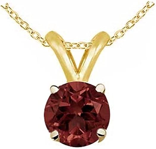 14k Yellow Gold Round Garnet Pendant
