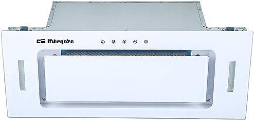 Orbegozo CA 09190 BL - Campana extractora cassette 90 cm, Clase A, frontal cristal templado blanco, extracción 637,1 m3/h, 3 niveles de potencia, iluminación LED: 197.23: Amazon.es: Hogar