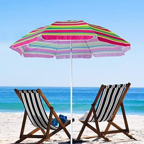 Snail Beach Umbrella, 6.5ft Sand Anchor with Tilt Aluminum Pole, Portable Sun ray Protection Beach Umbrella with Carry Bag for Outdoor Patio,Rainbow Color ()